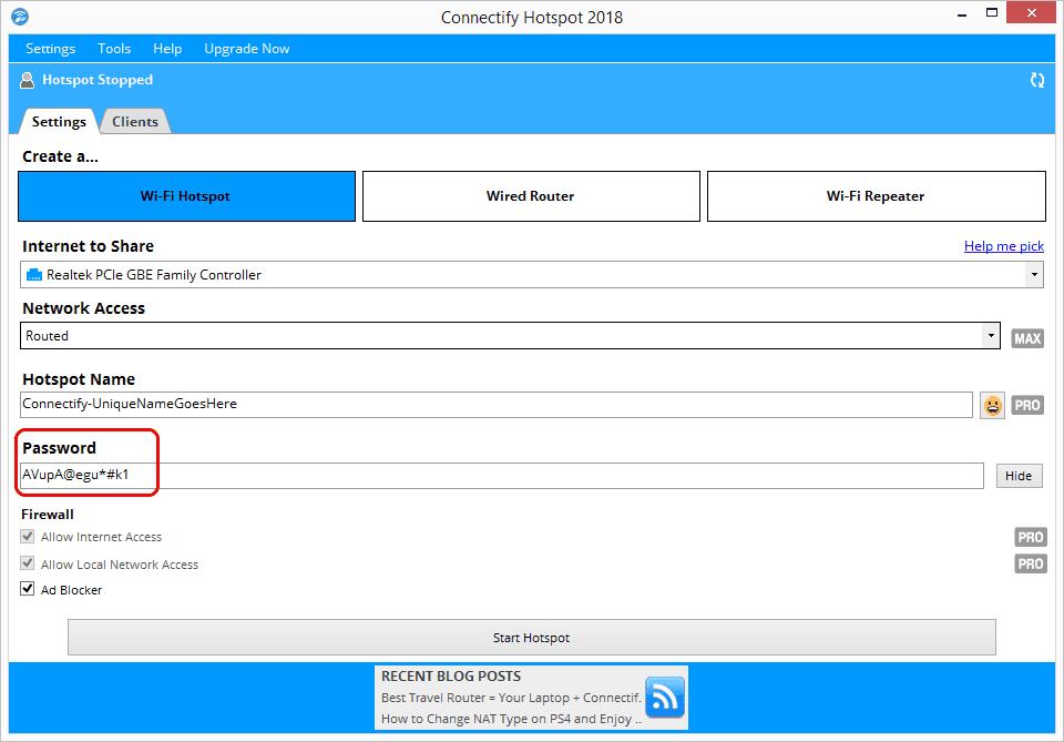 Screenshot of a complex Wi-Fi password for a hotspot in Windows