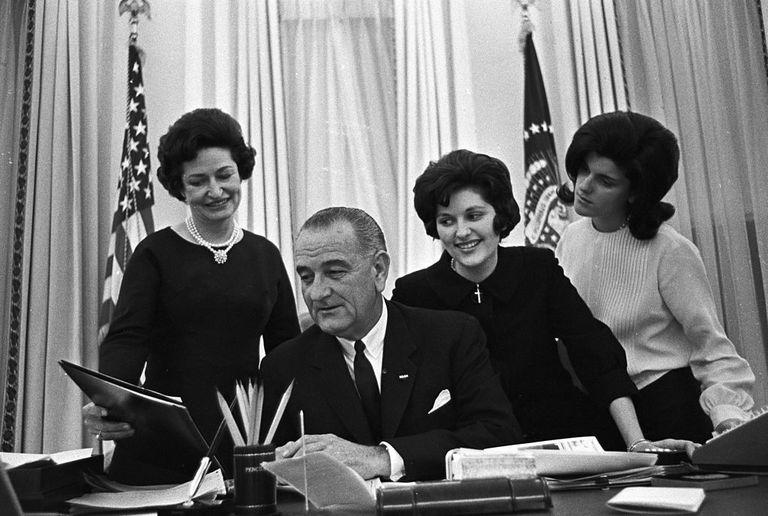Lyndon B Johnson y su familia