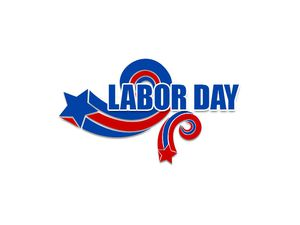 A red and blue Labor Day clip art image