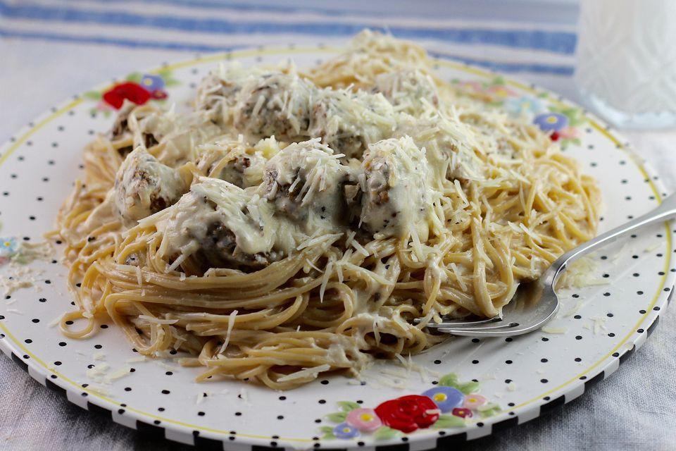 Chicken Meatballs with Spaghetti