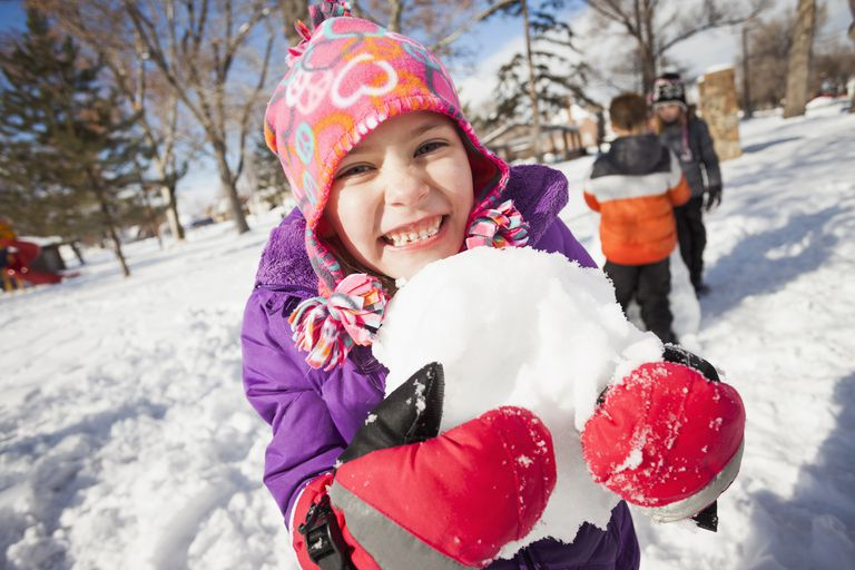Snow play ideas - girl holding snowball outdoors