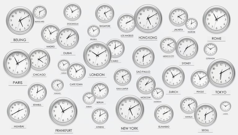 Numerous scattered international clocks