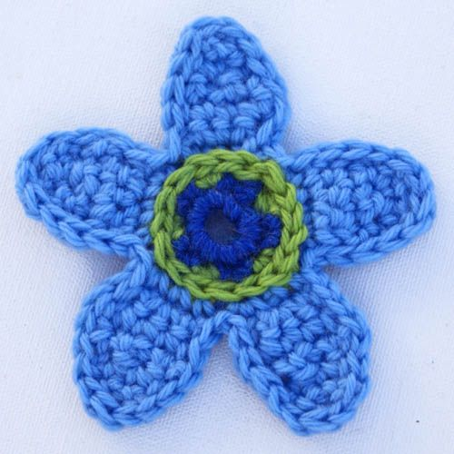 Crocheted Flower Applique in Blue and Green Wool Yarn