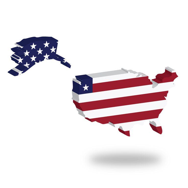 Mapa de Estados Unidos coloreado con los colores de la bandera.