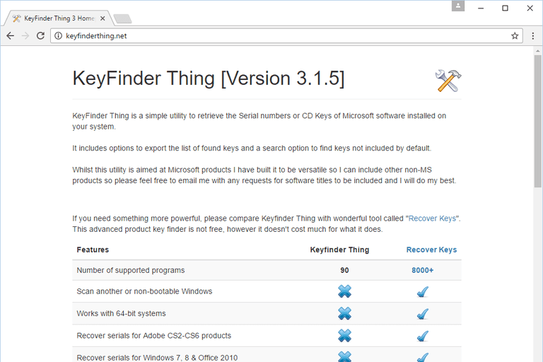 Screenshot of the Keyfinder Thing home page