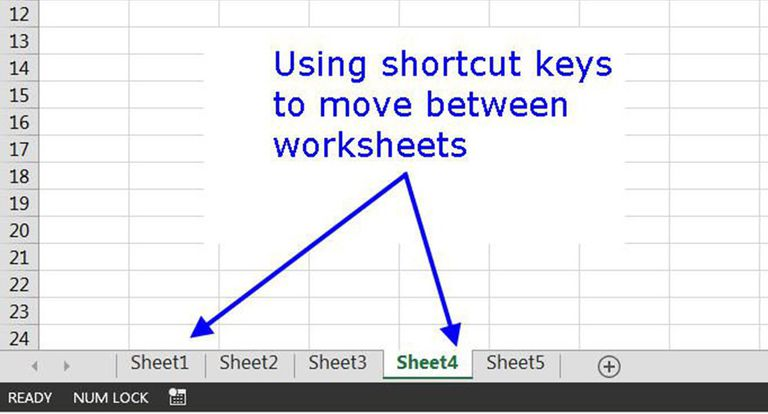 Moving Around and Between Worksheets in Excel with Shortcut Keys