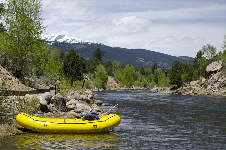raft sitting on a shore