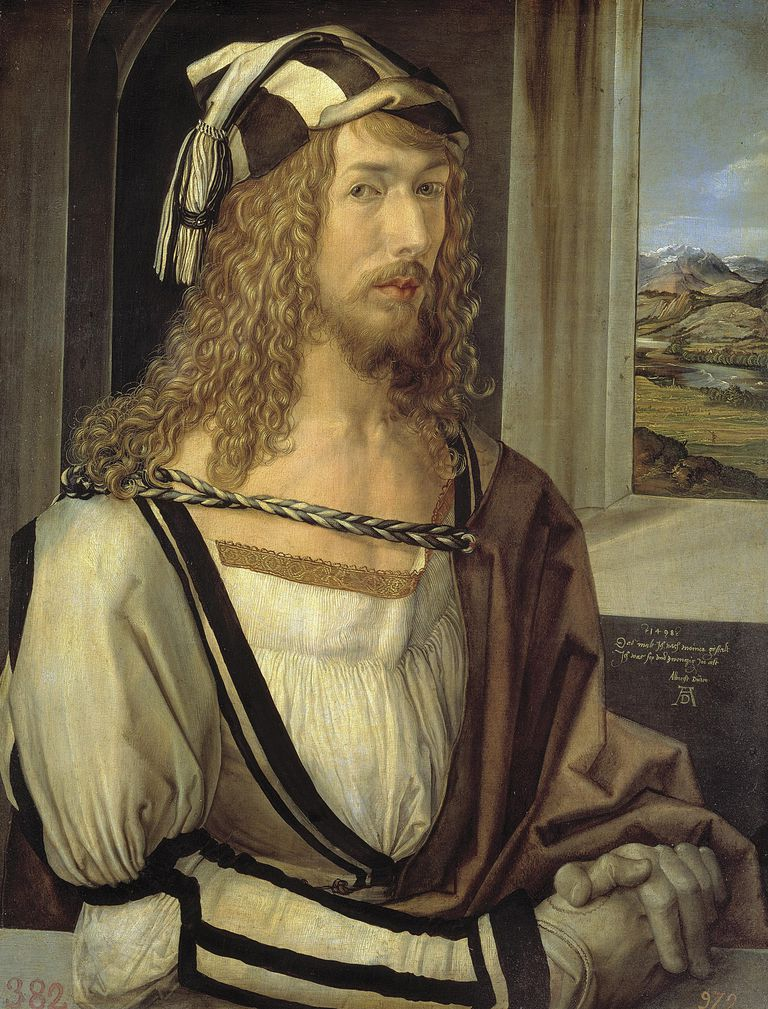 Selfportrait by Albrecht Durer, oil on wood, 1498