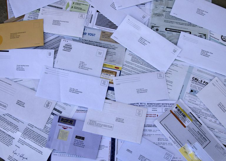 Pile of junk mail from the Netherlands
