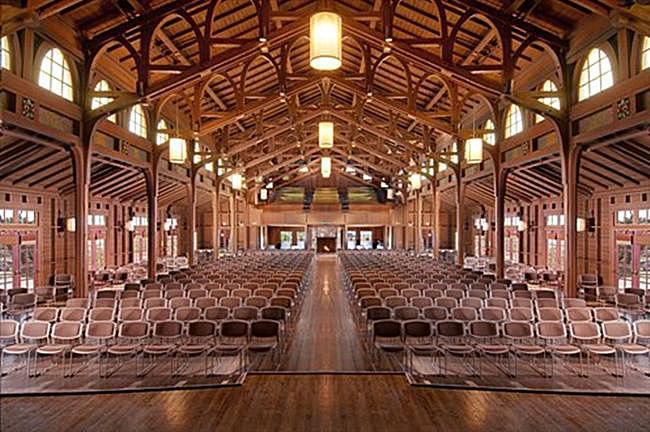 Arts and Crafts style Merrill Hall at Asilomar designed by architect Julia Morgan