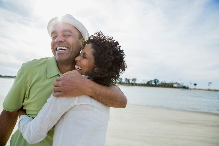 Loving mature couple embracing on beach