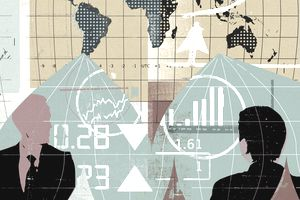 Businessmen with world map, financial data and international