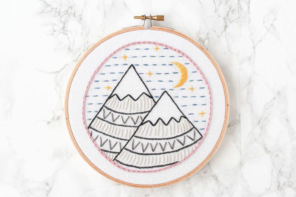 Modern Mountain Embroidery Sampler Design