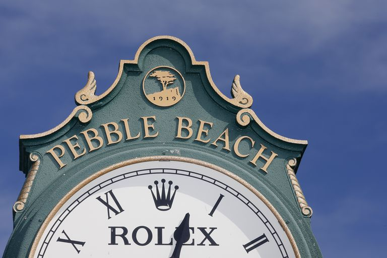 A view of a Rolex clock near the 1st tee box prior to the AT&T Pebble Beach National Pro-Am at Pebble Beach Golf Links