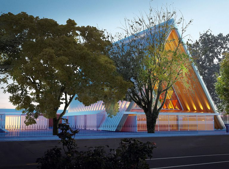 Elegant temporary church design by Shigeru Ban, made from inexpensive materials, will last years.