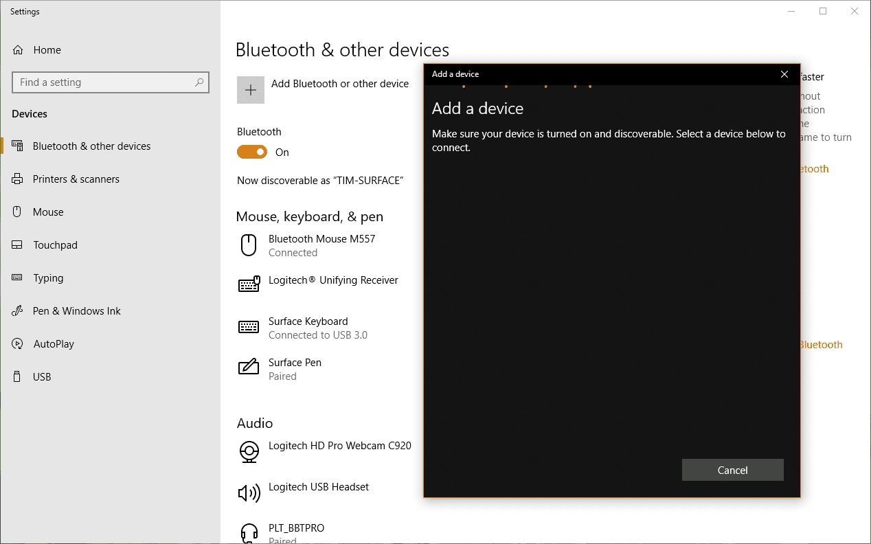 Screenshot showing the Bluetooth discovery process in action in Windows 10