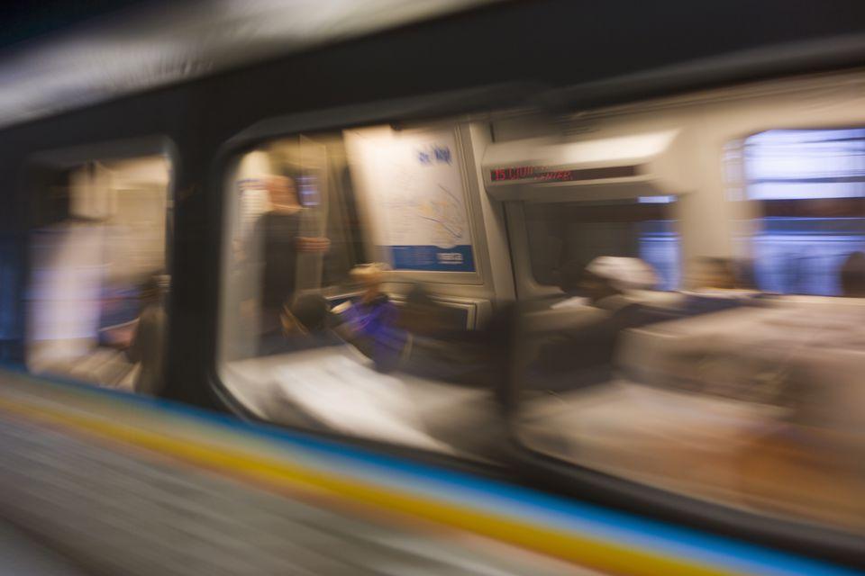 MARTA subway train in motion, Atlanta, Georgia