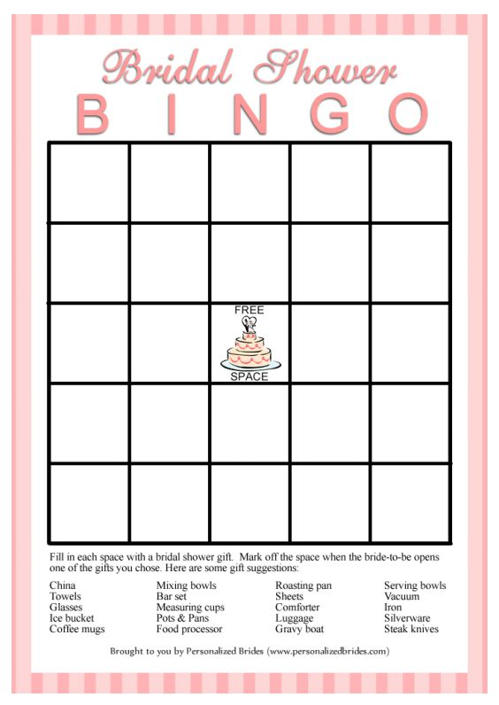 Bridal Shower Bingo From Personalized Brides