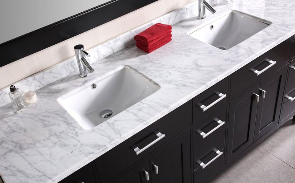 Double Basin Cut Out Bathroom Vanity Top. Bathroom Vanity Tops  DIY Solution for Bath Counters