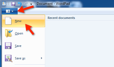 Launch wordpad in windows 7 using search create a blank document in wordpad ccuart Images