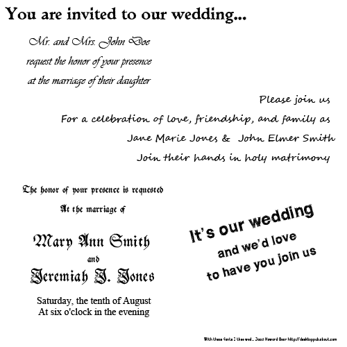 best fonts for wedding invitations - Wedding Invitation Fonts