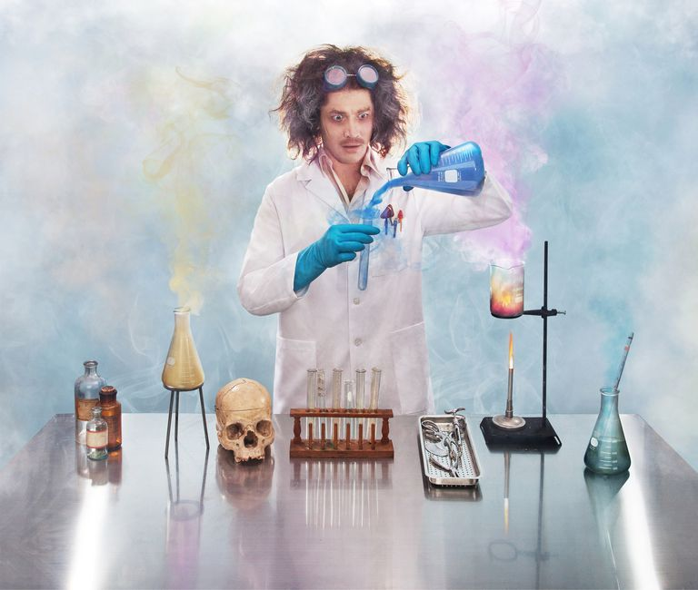 This scientist is breaking a lot of lab safety rules.