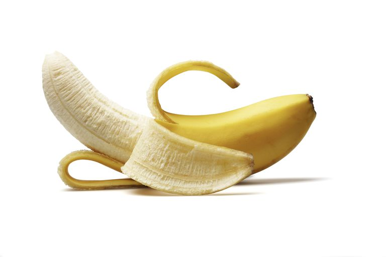 a half peeled banana
