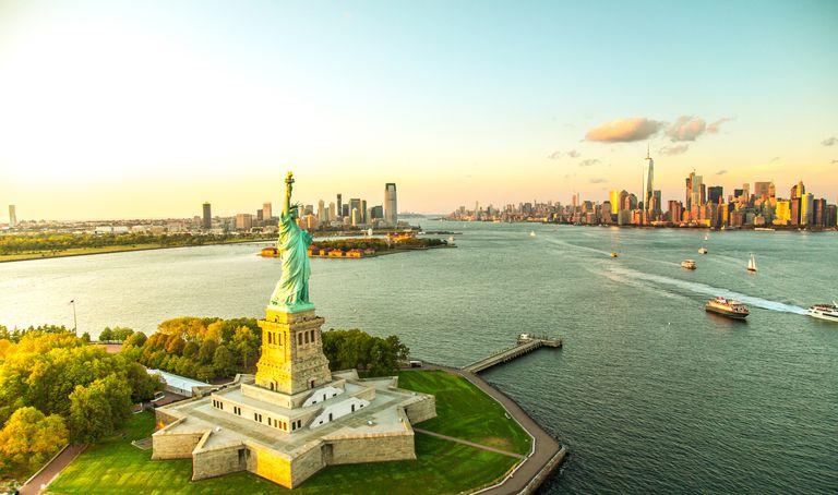 Liberty Island overlooking Manhattan Skyline