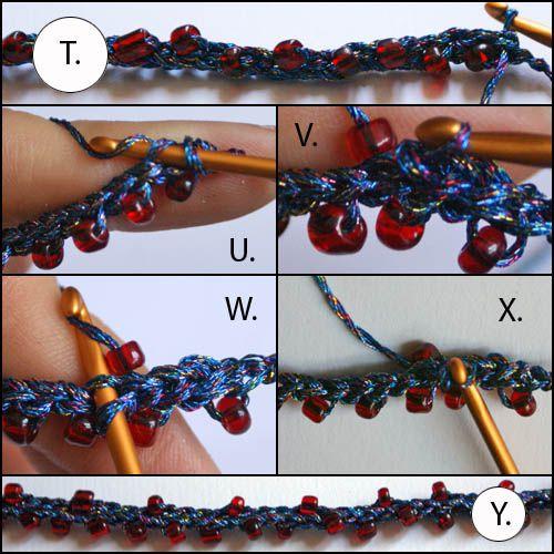 Row 2 of Beaded Crochet Necklace