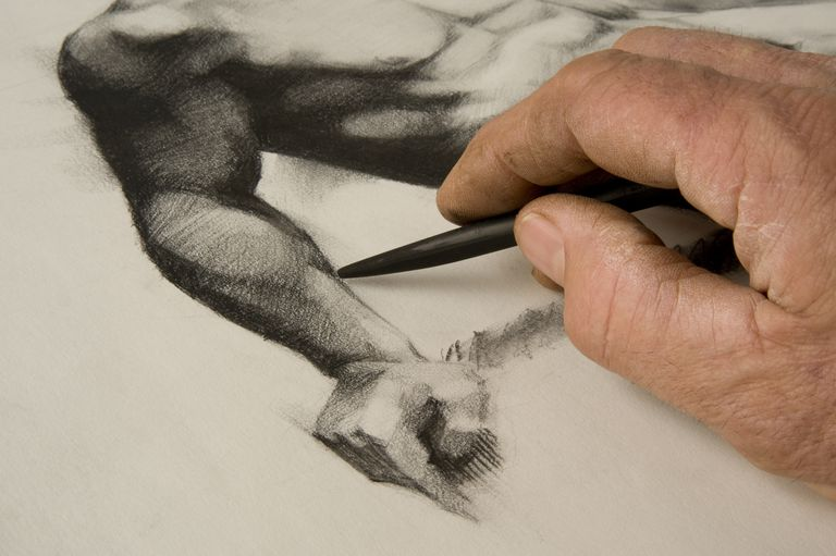 Artists hand and sketch