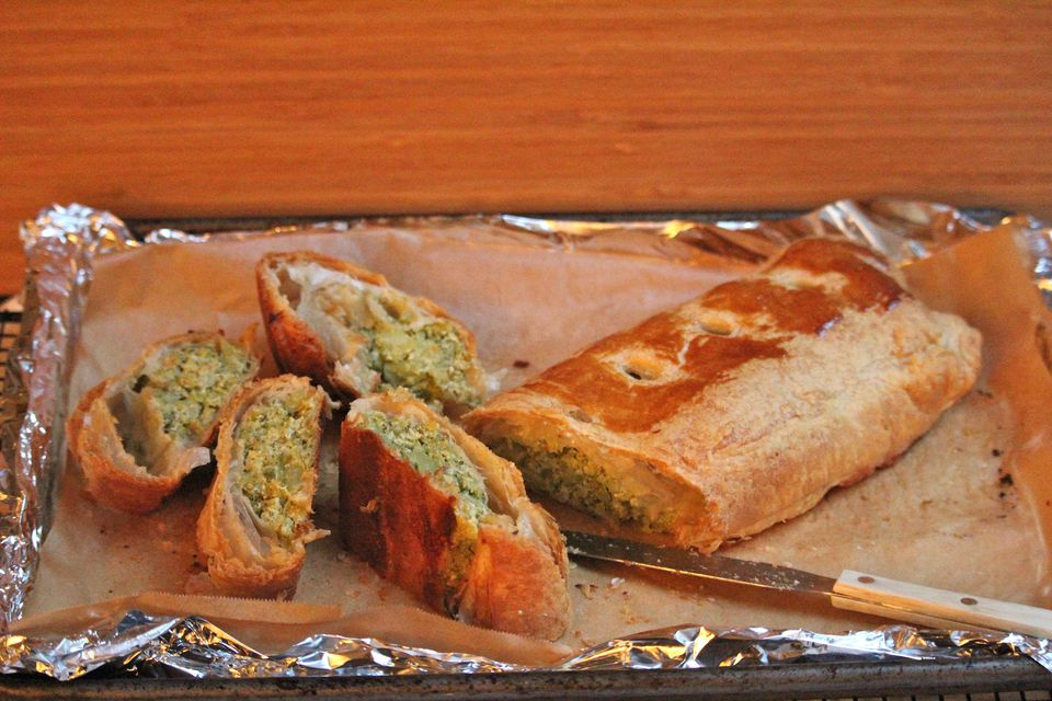 Broccoli and Cheese Puff Pastry Roll