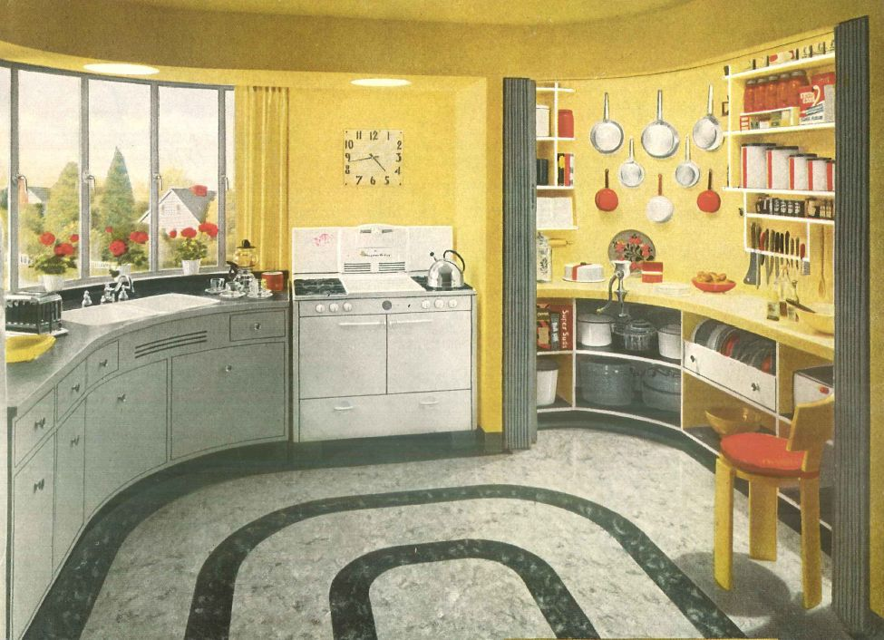 1940s home style kitchen decor for Modern kitchen in 1930s house