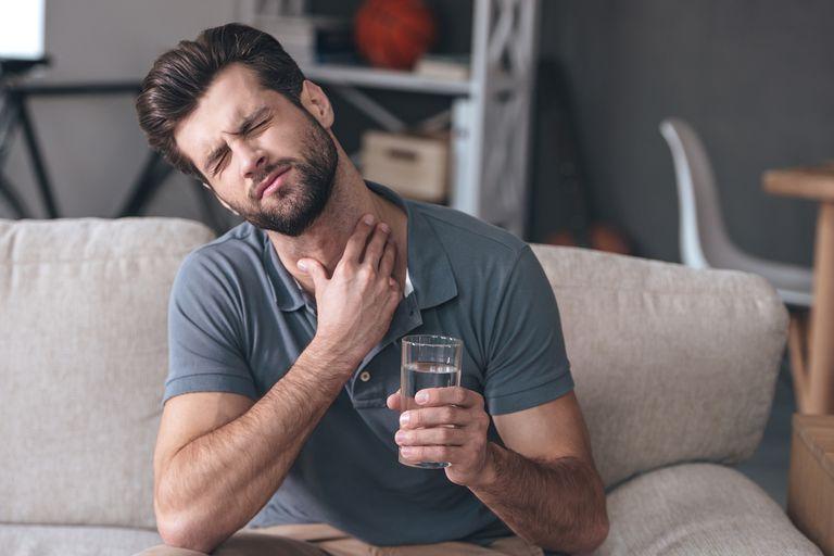 Terrible pain in his throat