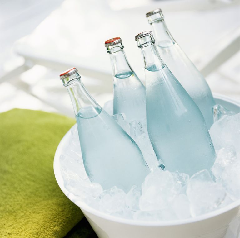 One way to supercool water is to put water bottles in a bucket of ice.