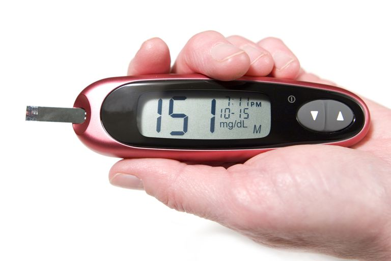 A high blood sugar level in a diabetic.