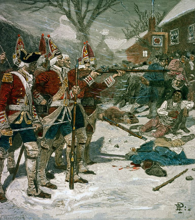 A line of British Soldiers fires on a crowd of unarmed colonists in an attack that came to be known as the Boston Massacre. The Massacre was used by propagandists to lobby for independence from England.
