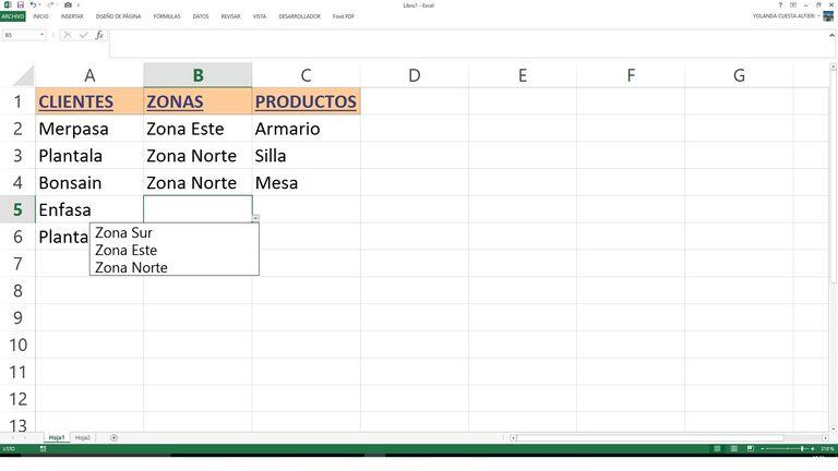 Validacion datos lista Excel