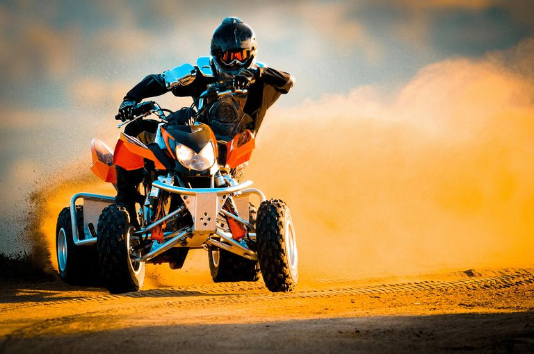 Quad biking in a desert