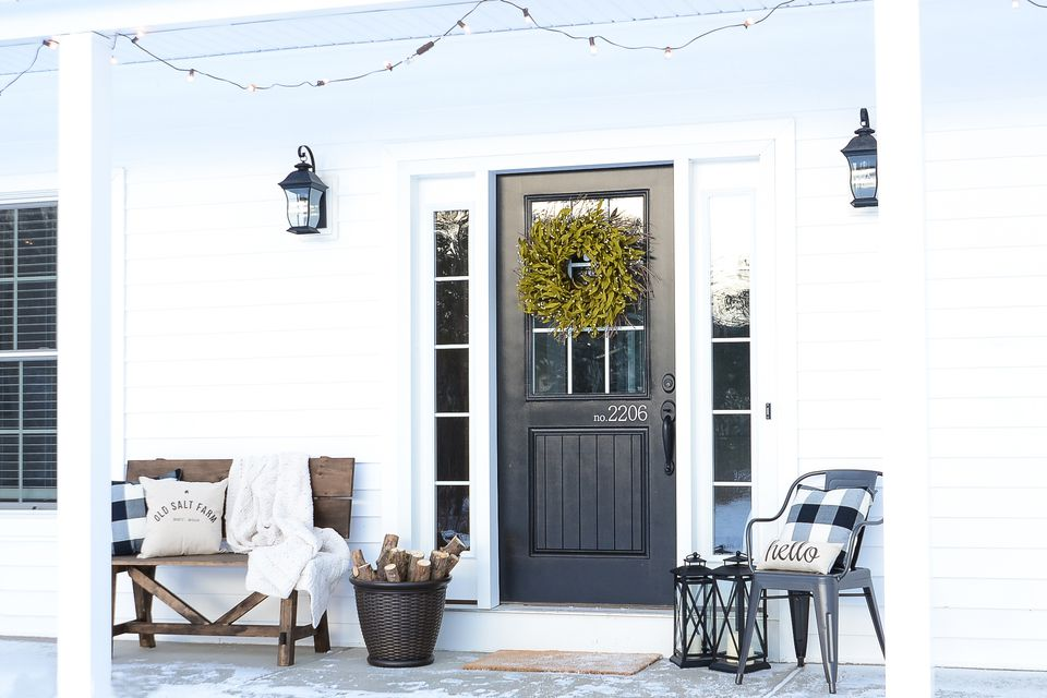 Winter Porch Decorating Ideas Bright White Rustic