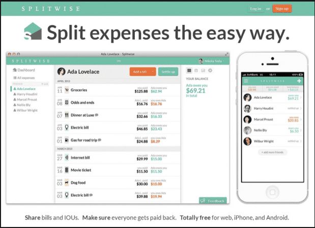 Use Splitwise online to share expenses.
