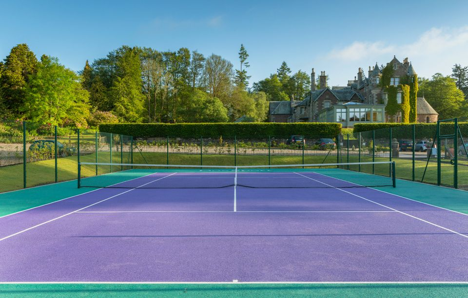 Purple and green tennis court at Andy Murray's Scotland hotel, The Cromlix