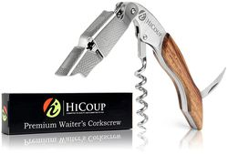 Waiters Corkscrew by HiCoup – Professional Grade Natural Rosewood All-in-one Corkscrew, Bottle Opener and Foil Cutter, the Favoured Choice of Sommeliers, Waiters and Bartenders Around the World