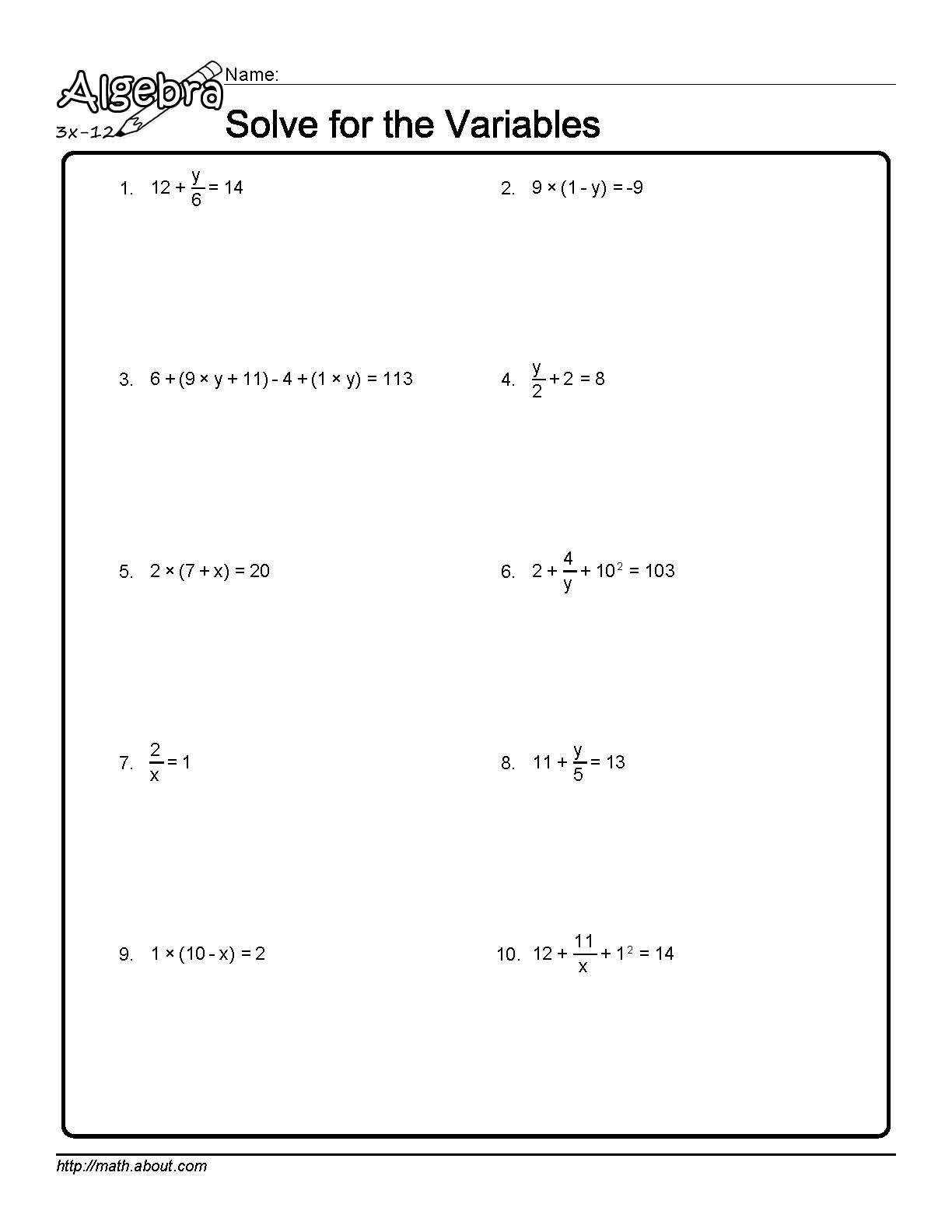 worksheet Solving For Variables Worksheet solve for the variables worksheet 1 of 10