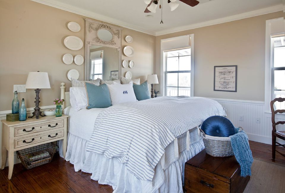 Tan And Blue Farmhouse Bedroom
