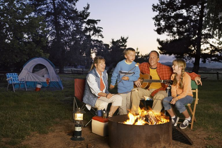 Family at a campfire