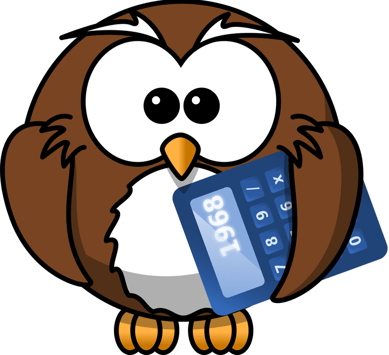An owl holding a calculator