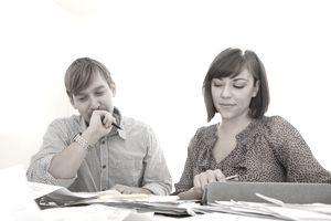 Couple working on taxes together