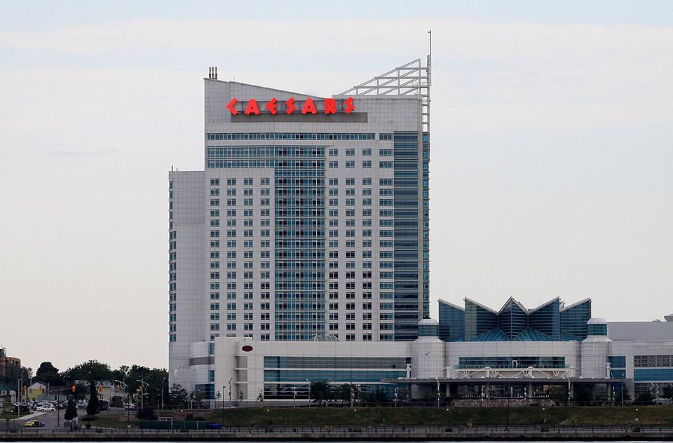 Caesars Windsor Hotel And Casino, as photographed from the GM International Riverwalk, in Detroit, Michigan on JULY 21, 2012.