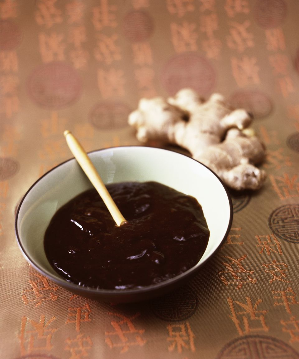 Hoisin Sauce in a Bowl with Fresh Ginger Root