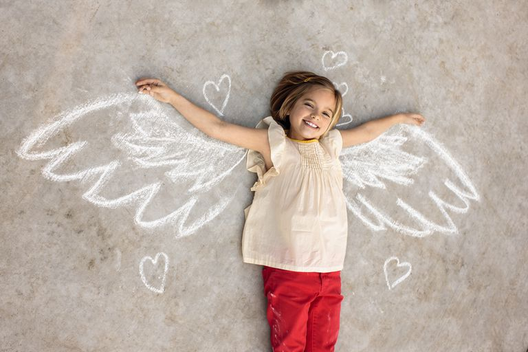 A girl with angel wings